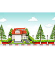 House with red roof at daytime vector image
