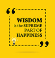 Inspirational motivational quote Wisdom is the vector image vector image