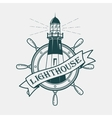 Lighthouse building with ships or boats wheel vector image vector image