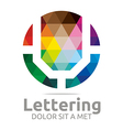 Logo Abstract Lettering U Rainbow Alphabet Icon vector image