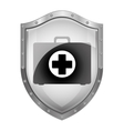 metallic shield with first aid kit vector image