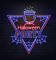 neon sign halloween party with cauldron vector image