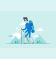 Nordic walking tour - modern flat design style