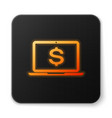 orange glowing laptop with dollar symbol icon vector image vector image