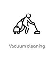 outline vacuum cleaning icon isolated black vector image vector image