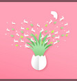 papercut easter egg with paper craft rabbits vector image vector image
