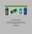 parking lot with cars top view vector image vector image