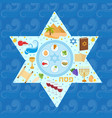 passover greeting card with icons in the shape vector image vector image