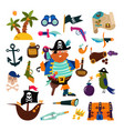 pirate piratic character buccaneer man in vector image vector image