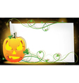 Pumpkin monster and a sheet of paper vector image vector image