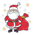 santa claus cartoon character with bag vector image