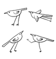 Set of 4 cute birds isolated in white in vector image vector image