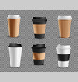 set realistic blank mockup paper cups vector image vector image