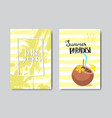set summer paradise coconut cocktail badge vector image