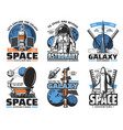 space rocket astronaut satellite planet icons vector image