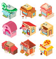 store facade front shop icons set isometric style vector image