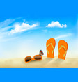 summer vacation background flip flops sunglasses vector image vector image