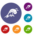 surf wave icons set vector image vector image