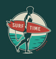 vintage colorful surfing time label vector image vector image
