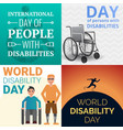 world day persons disabilities banner set cartoon vector image
