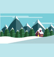 winter scene with trees and mountains and a cabine vector image
