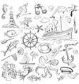 hand-drawn elements of marine theme vector image