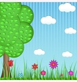 Paper tree grass and flowers on a blue background vector image
