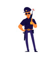 a policeman in a dark uniform with a weapon flat vector image vector image