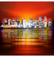 abstract red sky background with panorama of vector image vector image