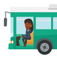 african bus driver sitting at steering wheel vector image vector image