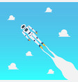 android robot flying on blue sky vector image vector image