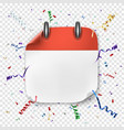 blank realistic calendar icon on festive vector image