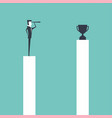 businessman standing on pillar and use telescope vector image vector image