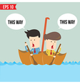Cartoon business man rowing a boat in his Umbrella vector image vector image