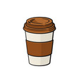 cartoon paper cup with coffee or tea vector image