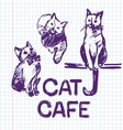 Cat cafe Hand drawn vector image vector image