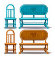 chairs and benches blue and brown color vector image vector image