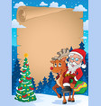 christmas thematic parchment 2 vector image vector image