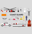 coast guard with security equipment and team vector image vector image