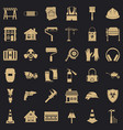 construction industry icons set simple style vector image vector image