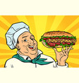 cook chef man presentation gesture hot dog vector image vector image
