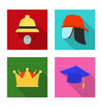 design of headgear and cap logo set of vector image vector image
