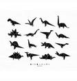 Dinosaurus origami set black vector image