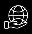 earth on hand icon vector image vector image