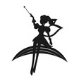 fairy black silhouette with a magic wand on a vector image vector image