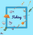fishing poster with fisher equipment icons vector image vector image