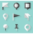 Flat icon set Push pin map White style vector image vector image