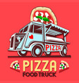 food truck pizza fast delivery service logo vector image