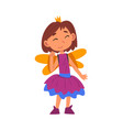 girl dressed as fairy princess cute kid playing vector image vector image