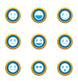 grin icons set flat style vector image vector image